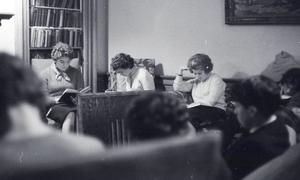 Photograph of students reading at Cowan House, University of Edinburgh Halls of Residence<br /><br />