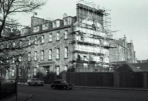 Photograph of scaffolding on Cowan House, George Square, following demolition of Masson Hall next door<br /><br />