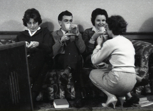 Photograph of students drinking tea / coffee at Cowan House, University of Edinburgh Halls of Residence<br /><br />